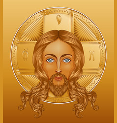 Orthodox jesus christ with halo beautiful vector