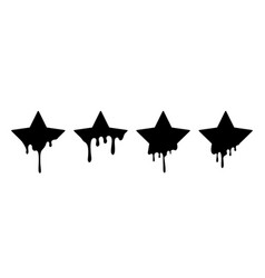 Paint drip stickers or star labels liquid vector