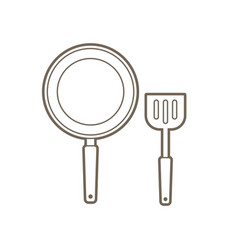 Pan and spatula top view outline graphic vector