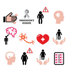 parkinsons disease seniors health icons set vector image