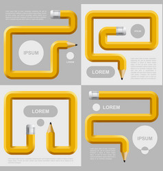 Pencils curved in different forms with places for vector