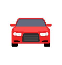 pixel art car front view sport car 8 bit pixel vector image