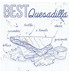 Quesadilla recipe on a notebook page vector image