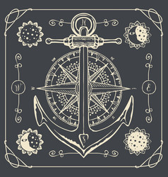 retro travel banner with ship anchor and wind rose vector image