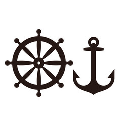rudder and anchor sign vector image