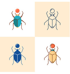 scarab beetle icon set in flat and line style vector image