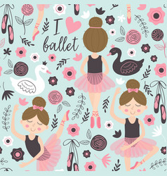 Seamless pattern blue with cute ballerina girl vector