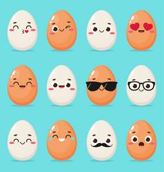 set cartoon egg emoji vector image