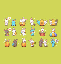 set cute rabbits happy easter bunnies stickers vector image