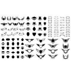 Set empty emblems ribbons winged emblems vector