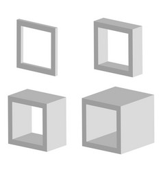 Set of 3d square model icons with different depths vector