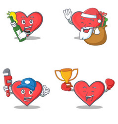 Set of heart character with beer santa gift vector