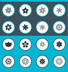 set of simple flower icons elements fuji daisy vector image
