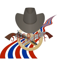 Sheriff badge and gun vector