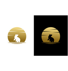 Silhouette beauty howling bear and golden moon vector
