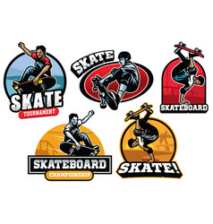 Skate badge design vector