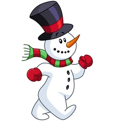 Snowman walking vector