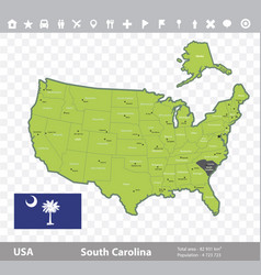 South carolina flag and map vector