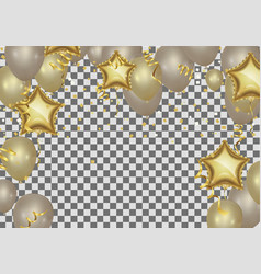 star shaped balloons birthday greeting golden vector image