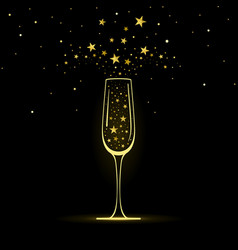 stylized champagne glass with gold stars vector image