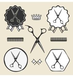 Vintage barber shop scissors symbol emblem label vector image
