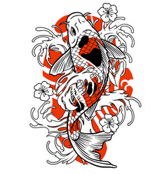 Vintage tattoo koi fish design vector