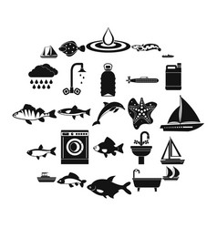 Water world icons set simple style vector