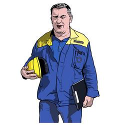 Worker in blue work suit vector