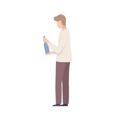 young man trying to open a bottle on party vector image
