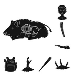 zombies and attributes black icons in set vector image