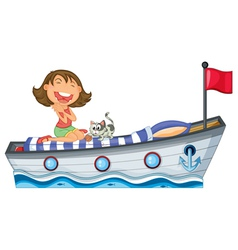 A boat with a girl and a cat vector image
