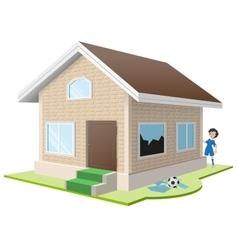 Boy broke window Property insurance vector image vector image