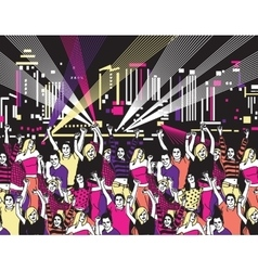 Disco open air party crowd young people dance vector image