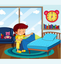 girl in yellow pajamas making bed in bedroom vector image vector image