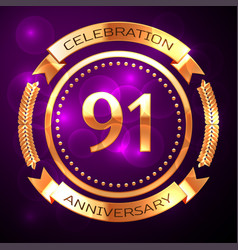 ninety one years anniversary celebration with vector image vector image