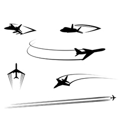 Airplanes and jets symbols for aviation design vector image