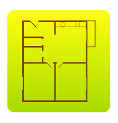 apartment house floor plans brown icon at vector image vector image