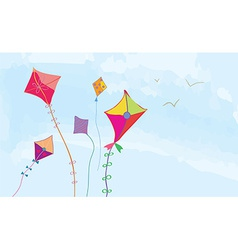 Banner with sky kites and birds horizontal vector image vector image
