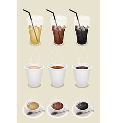 Iced Hot Cup Coffees vector image vector image