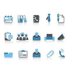 office and business icons blue series vector image vector image