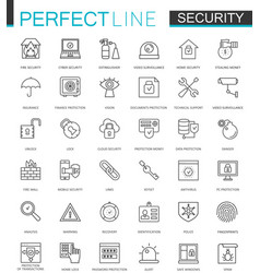 security protection thin line web icons set data vector image