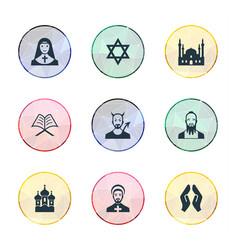 set of simple religion icons elements muslim devil vector image