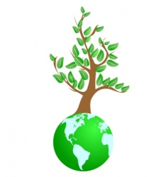 tree on green planet vector image vector image