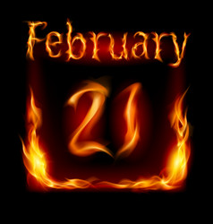 twenty-first february in calendar of fire icon on vector image vector image