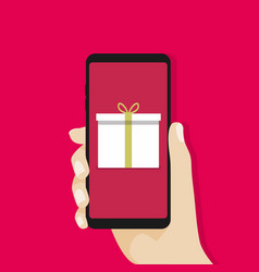 gift box in smartphone screen vector image vector image