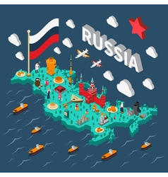 Russia Isometric Touristic Map vector image vector image
