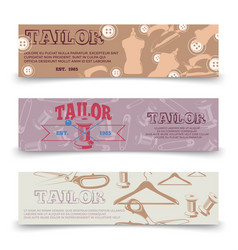 tailor horizontal banners template with tailor vector image vector image