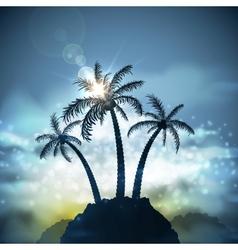 Three palm trees vector image