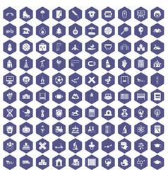 100 kids icons hexagon purple vector