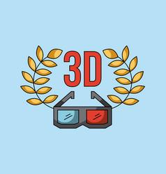 3d glass cinema art concept vector